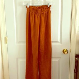 HIGH WAISTED PIN STRIPED FLARE PANTS